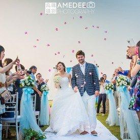在西子灣沙灘會館的戶外婚禮攝影-高雄攝影