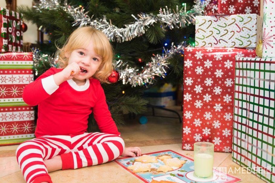 小朋友在聖誕樹下吃為聖誕老公公準備的紅蘿蔔