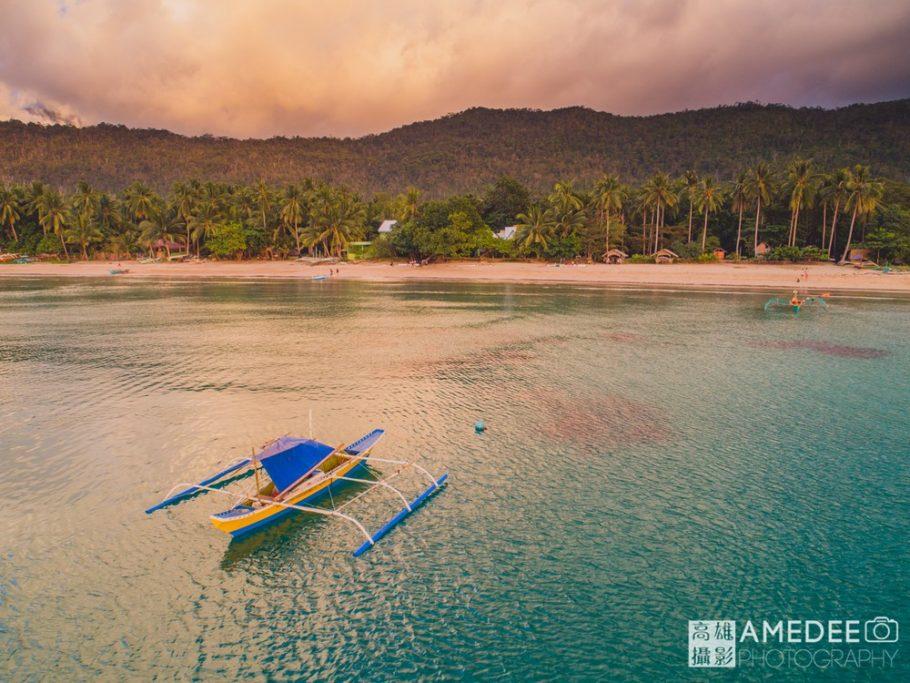 夕陽海景船空拍攝影