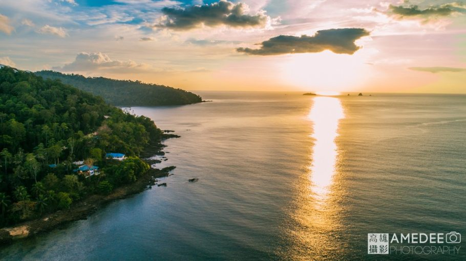 夕陽海景空拍攝影
