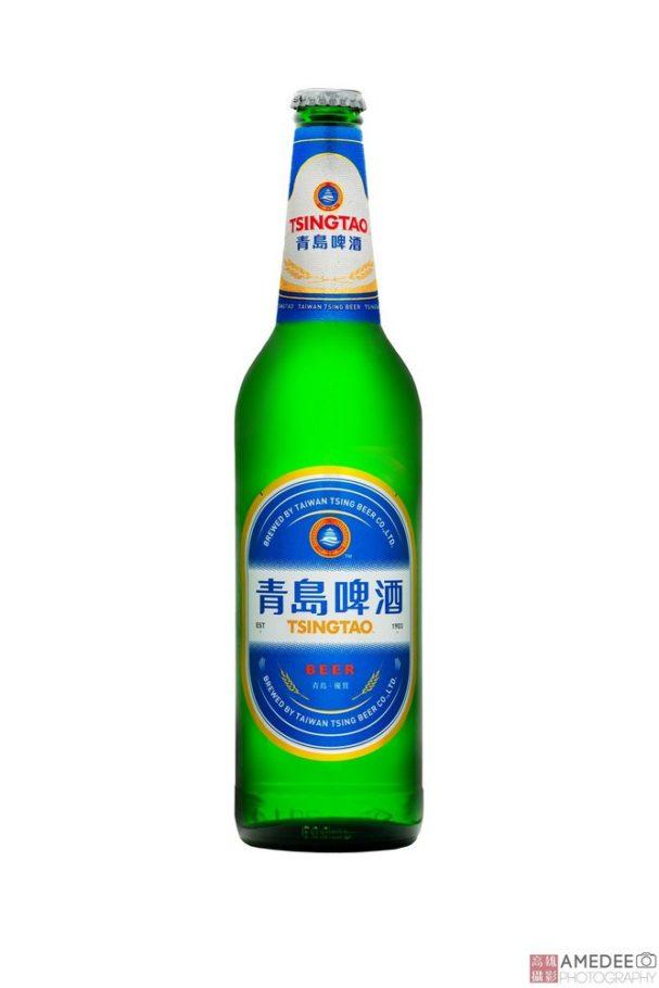 青島啤玻璃瓶去背攝影
