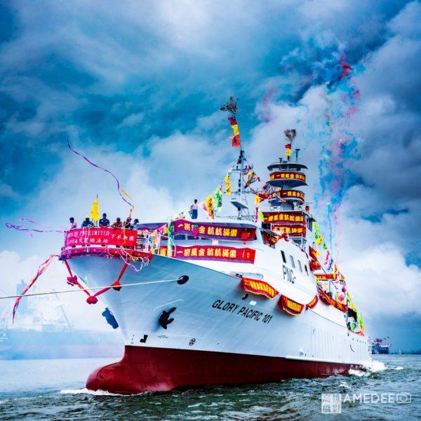 順合漁業股份有限公司在旗津中信造船廠glory-pacific新船下水典禮活動攝影