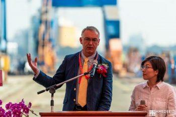 旗津中信造船場新船下水典禮外國來賓致詞活動攝影