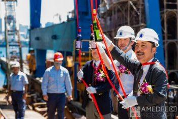 旗津中信造船新船下水典禮擲瓶活動紀錄